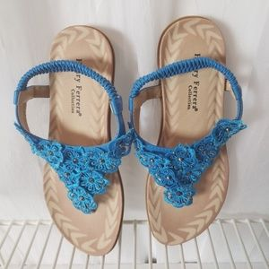 Henry Ferrera Sandals Turquoise Sequence Lace